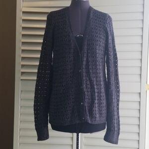 DKNY JEANS crotchet knit grey cardigan. Size M
